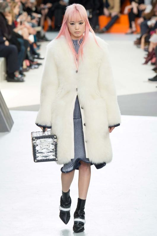 cherry blossom pink hair, runway, louis vuitton