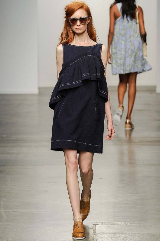 denim dress, karen walker, s 15, tiered top, flounce