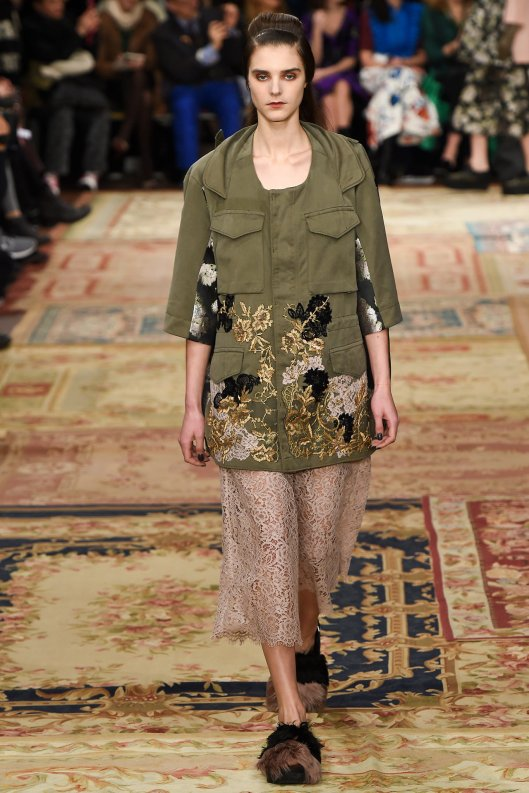 mfw, a15, antonio marras, embroidered military jacket, lace skirt, yetti shoes