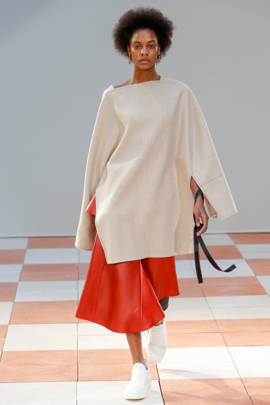 PFW, a15, celine, poncho top, bright red skirt