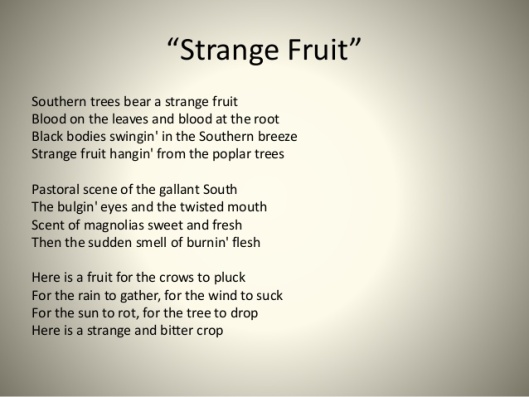 billie holiday, strange fruit, poem/lyrics