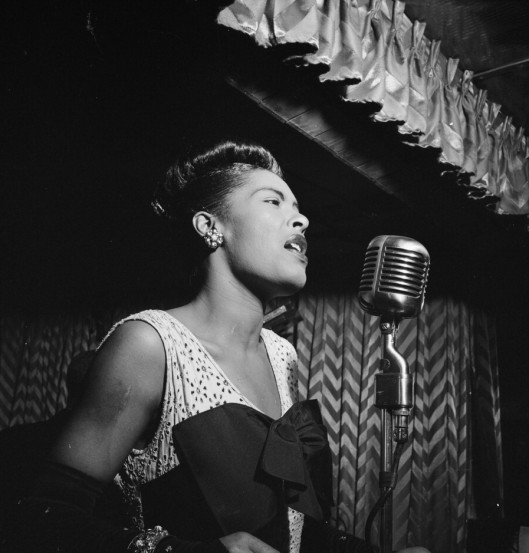 billie holiday, at the mic