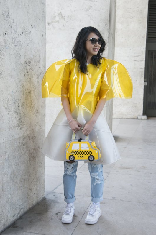 plastic, yellow, cropped rain coat
