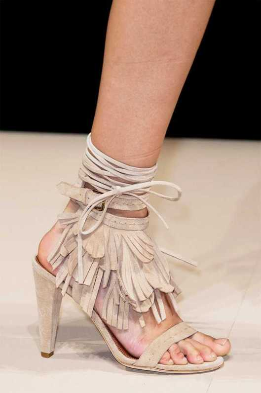 shoes, suede, open toe, fringe lace up at ankle by alberta ferretti