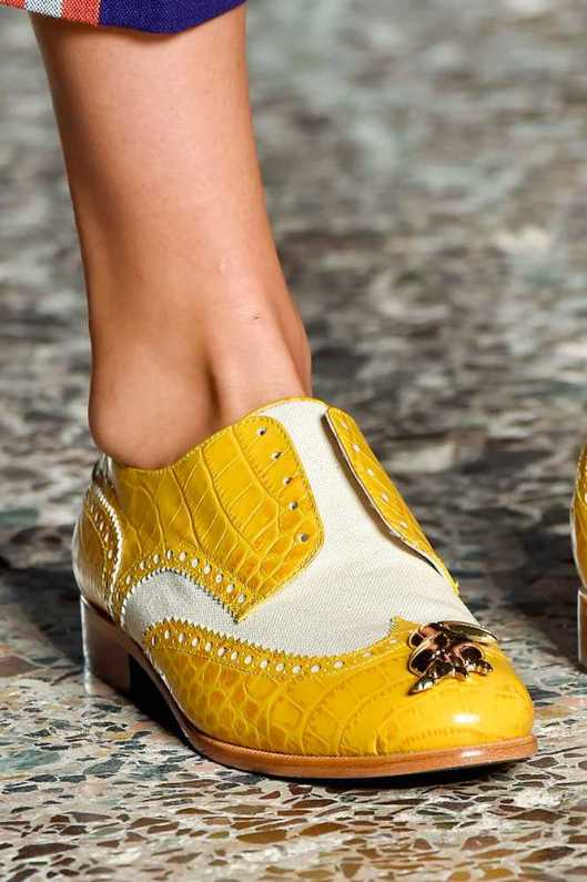 yellow/cream brogues, laceless, stella jean