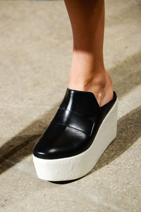 shoes, black, leather, flatform, mules, derek lamb