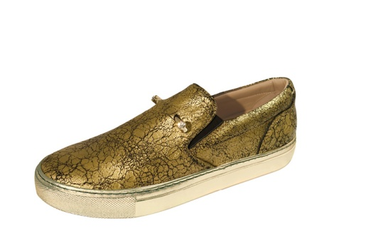 shoes, spring, 2015, gold crackled trainers, slipon, coliac37