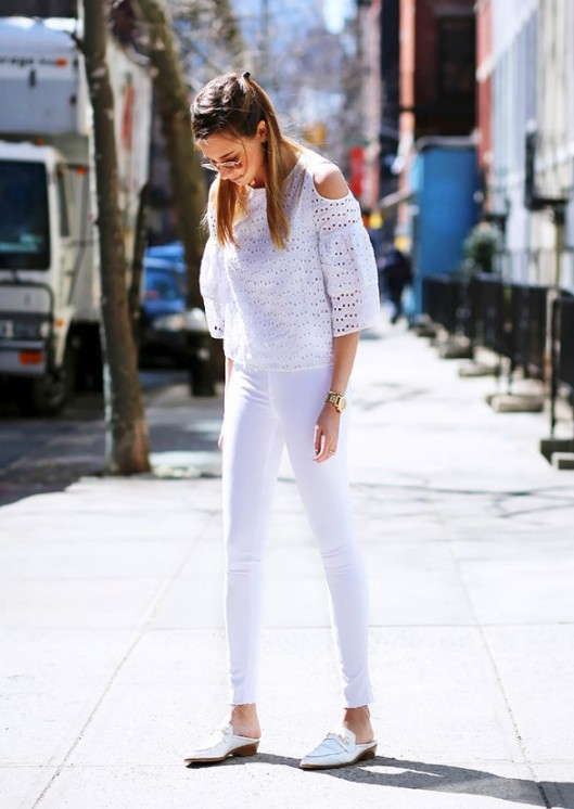 summer white street style, eyelet top