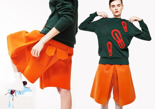 yii, womenswear, ss 15, orange cullote, green jumper