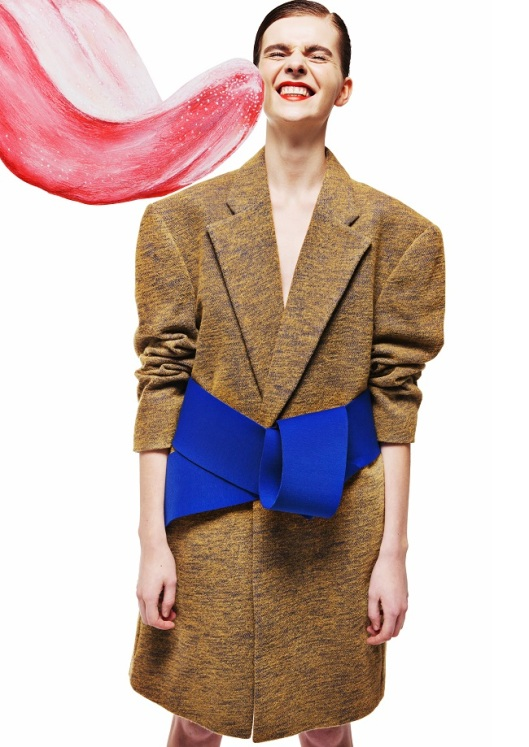 Yii, womenswear. ss 15. brown coat, blue tie