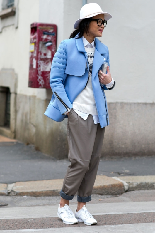 the look:  casual, muted hues, jacket color pop in blue