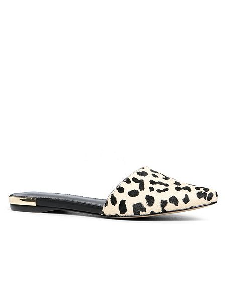 pointed toe flat sliders, b/w  animal print