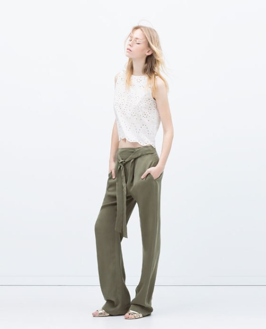 olive green, loose fit trousers, ladies, zarav3666075250_1_1_1