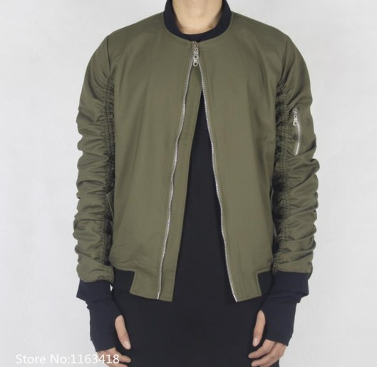 bomber jacket, men, green, inverted zip detail