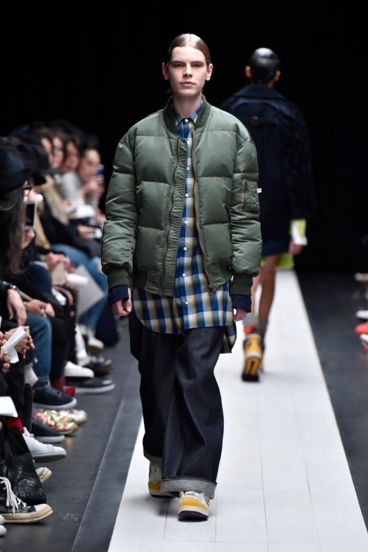 bomber jacket, men, green over long check shirt by facetasm