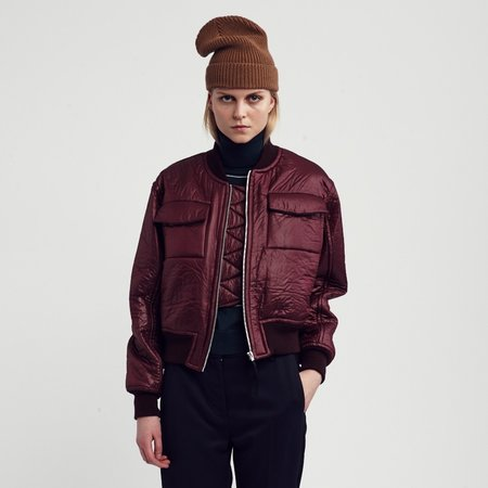 bomber jacket, the greta, burgundy, wood wood,