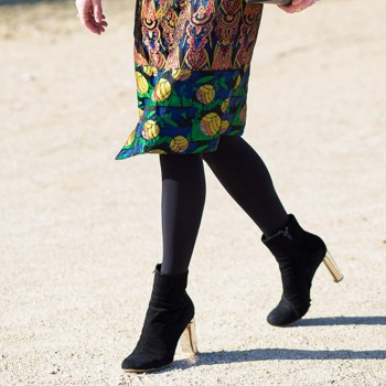 shoe, ankle boot, black velvet, gold heel