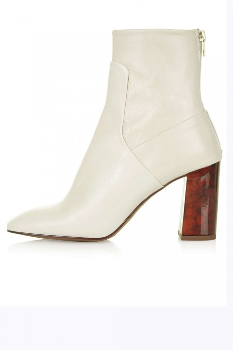 shoes, ankle boot, white, tortoise shell heel, Topshop, marieclaire.co.uk Tortoiseshell