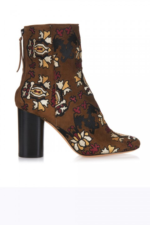 shoes, ankle boots, brown, print, botanical