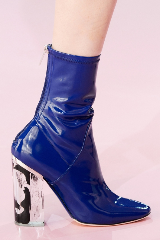 shoes, ankle boots, christian dior, blue patent, perspex heel, clear