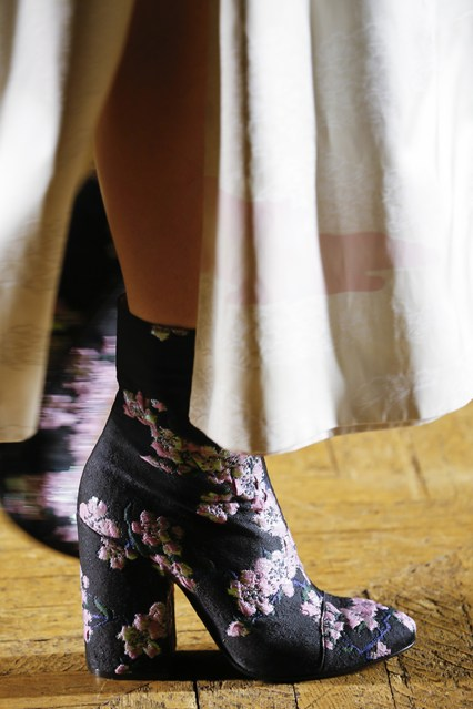 shoes, ankle boots, dries van noten, grey, pink florals, textile,