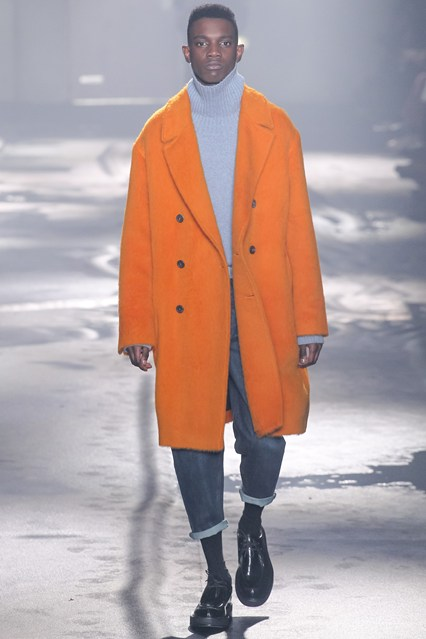 men, runway, overcoat, orange, ami