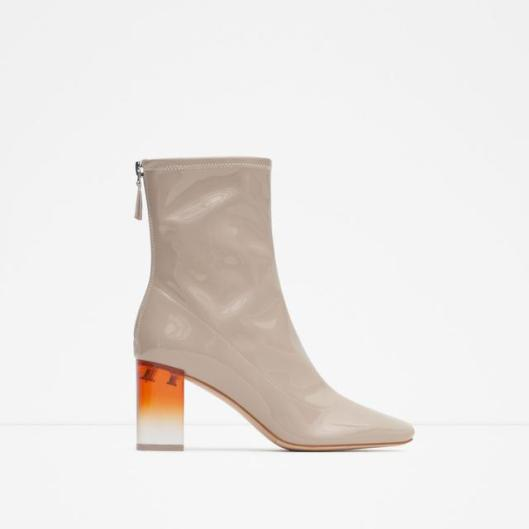 perspex heel, ankle boot, champagne, patent leather, ombre perspex heel,