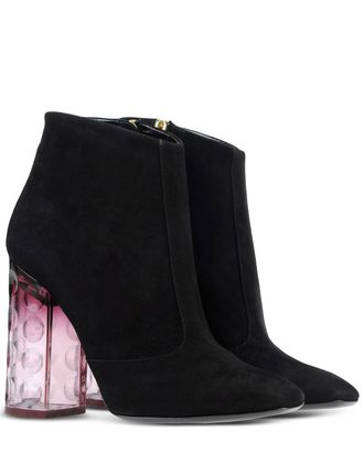 perspex heel, black suede, bubble bit heel in purple