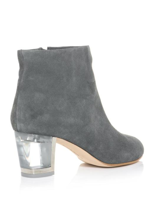 perspex heels, ankle boot, grey suede,