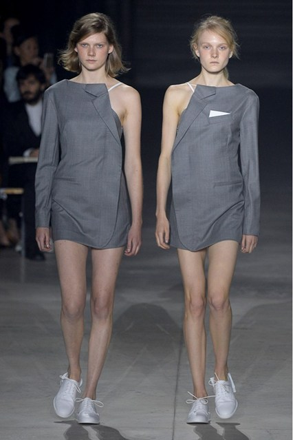 pfw, spring 2016, deconstructed suit jacket dress, jacquemus