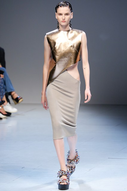pfw, ss 2016, esteban cortazar, metallic,asymmetric cutout dress