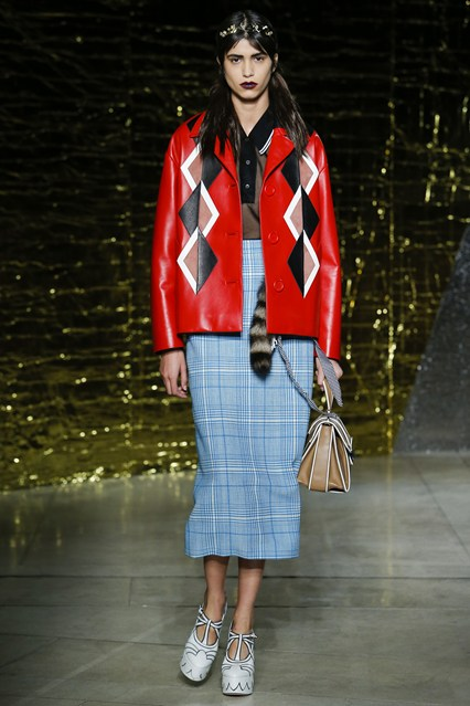 pfw, ss 2016, miu miu, red leather jacke