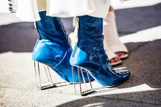 hoes, boots, blue patent leather, perspex heel,