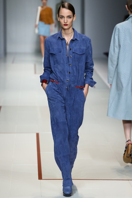 suede, blue, jumpsuit, gaia trussardi, vogue