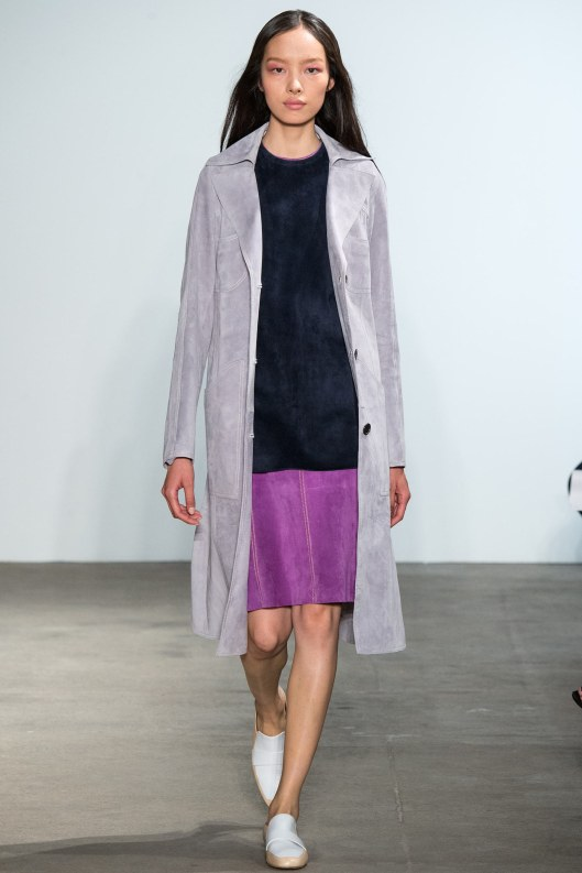 suede, ensemble, coat-grey, blue shift top, purple A line skirt, derek lam s 2015 LAM_0099
