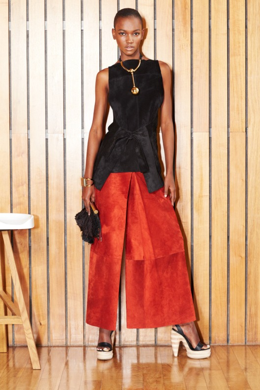 suede, halloween shades, black top, organge culottes, wmag