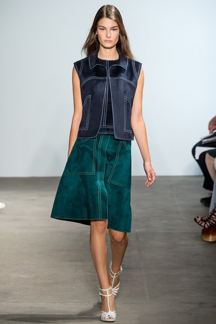 suede, navy top, kelly green skirt, derek lam
