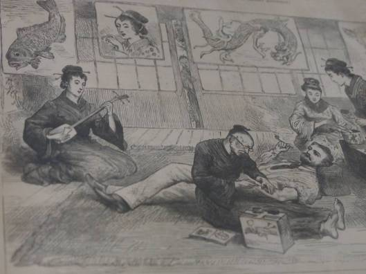 yokohama tattoo museum, illustraion of foreigner tattooeed in Nagasaki 1882,