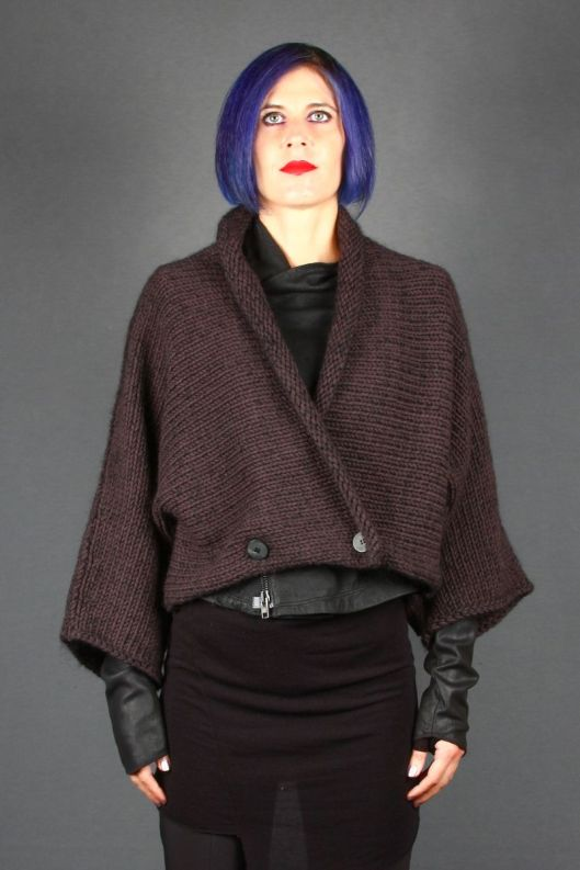 sabel benenato, aubergine jumper over leather jacket, blast-bologna.it 1