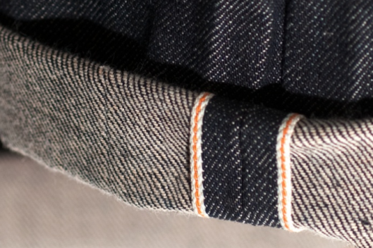 apanese denim, selvage denim, nudiejeans.com orange