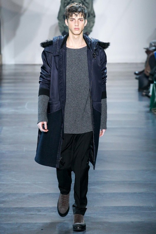 menswear, outerwear, a15, colour block blue, parka, fur trim hood phillip lim