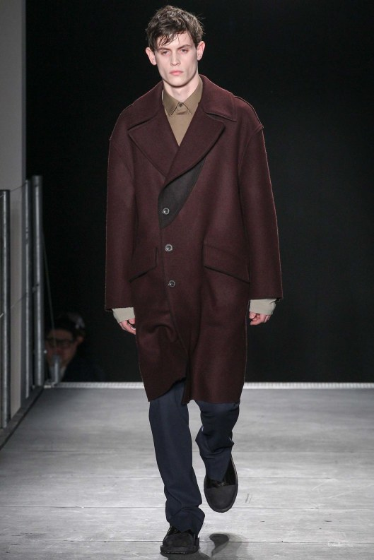 menswear, outerwear, a15, dark maroon, black panel, off centre buttoning, wooyoungmi (mum_daughter design duo)