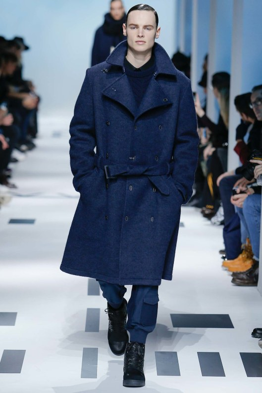 menswer, outerwear, overcoat, a15, double breast, metal clasp closure, wide lapel blue military vibe,