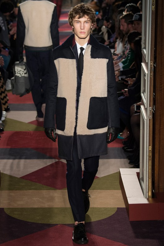 menswear, outerwear, a15, valentino, cream faux fur inset, black to hem, pockets, sleeves, collar,