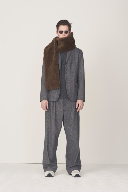 Steven_Alan, menswear, a15, in grey- super relaxed trousers_jacket, fluff scraf