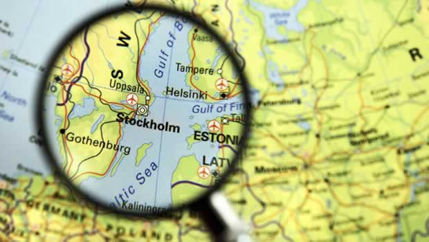 stockholm, map under magnifying glass, cruisingfromstockholmcom