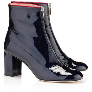 camilla elphick, shoes, blue patent leather, zip front, polyvore.com