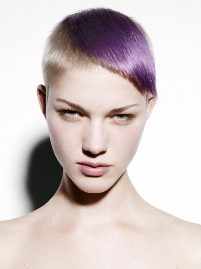 hair fashion, purple_blond, unusual-hairstyles.com highlighted-asymmetrical-bangs