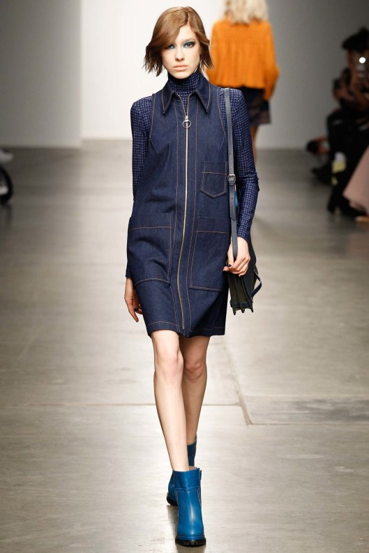 karen walker, fall 2015, denim dress as smock,