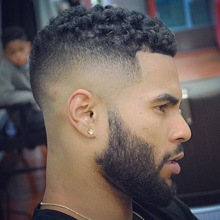 men, hair fashion, Fade-, curl on top,